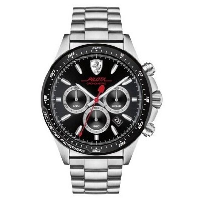 Watches Watch Scuderia Ferrari Chronograph Man Analog Leather Strap Pilota Collection Fer0830393
